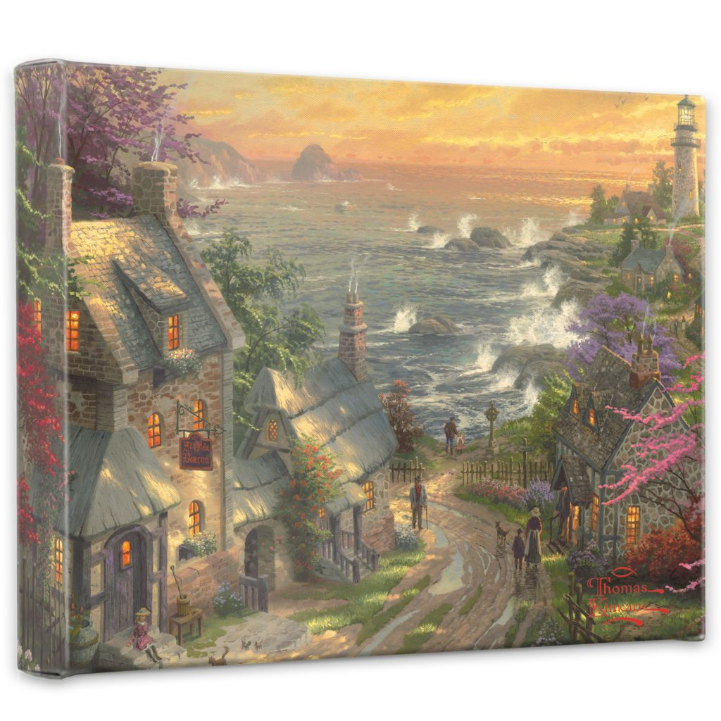 "440-728 - Thomas Kinkade ""Village Lighthouse"" 8"" x 10"" Gallery Wrap"