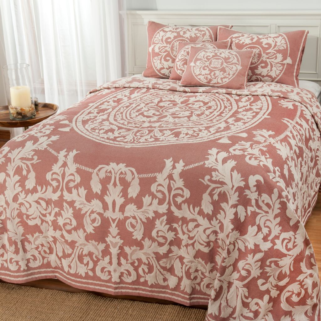 440-772 - North Shore Linens™ Woven Floral Jacquard Five-Piece Bedspread Ensemble