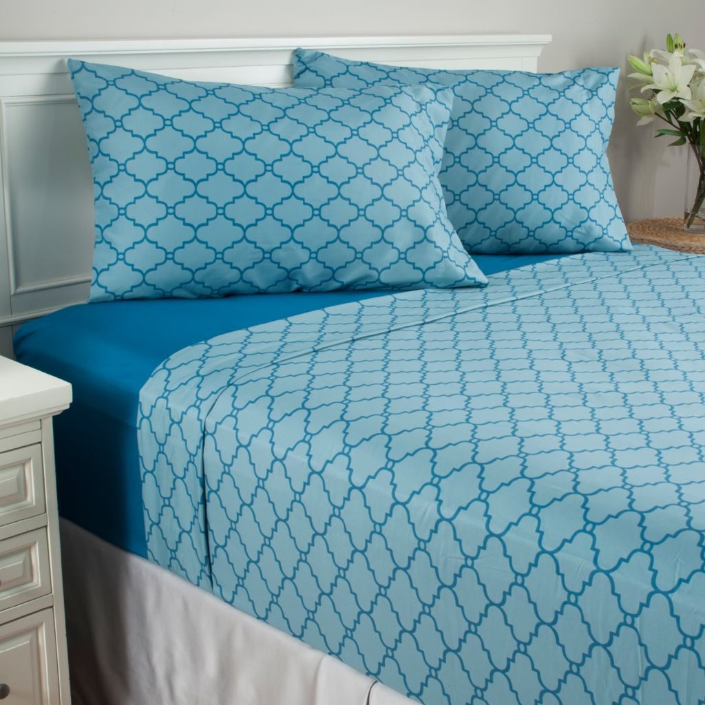 440-785 - Cozelle® Set of Two Microfiber Lattice Four-Piece Sheet Sets