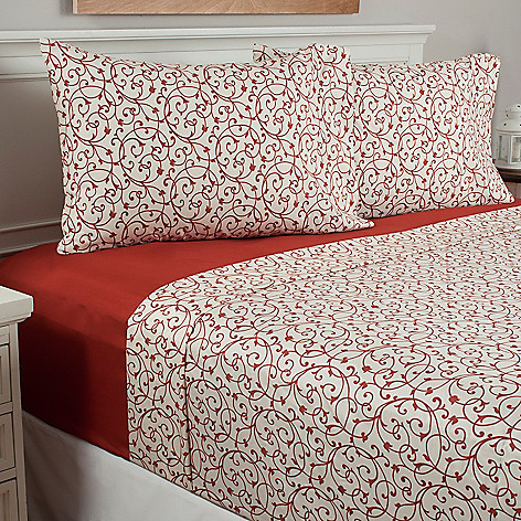 440-795 - Cozelle® Set of Two Floral Microfiber Four-Piece Sheet Sets