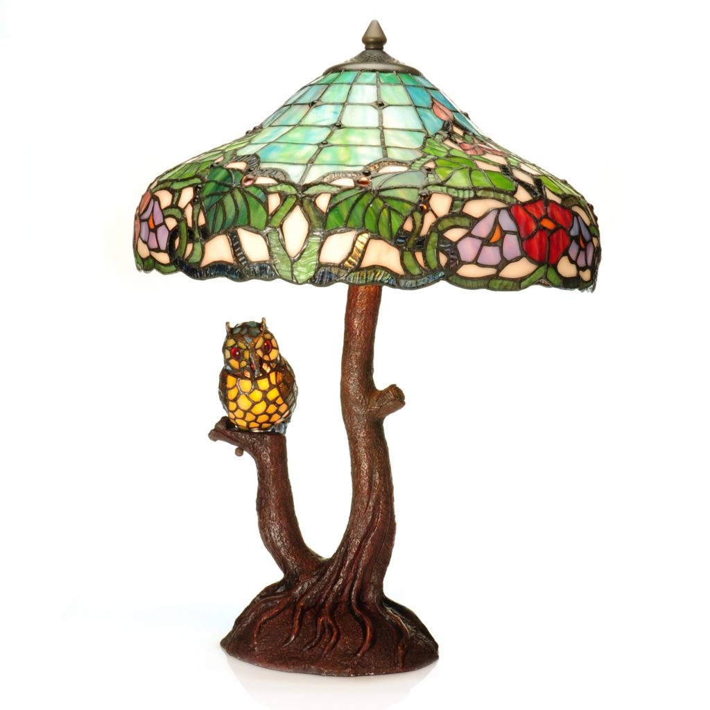 "440-880 - Tiffany-Style 22.25"" Athena's Owl Double Lit Stained Glass Table Lamp"