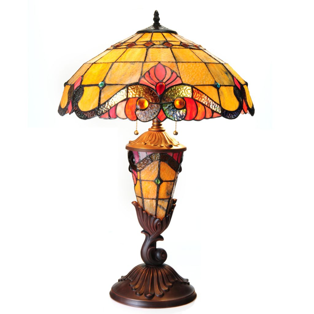 "440-882 - Tiffany-Style 27.5"" Vivaldi Double Lit Stained Glass Table Lamp"