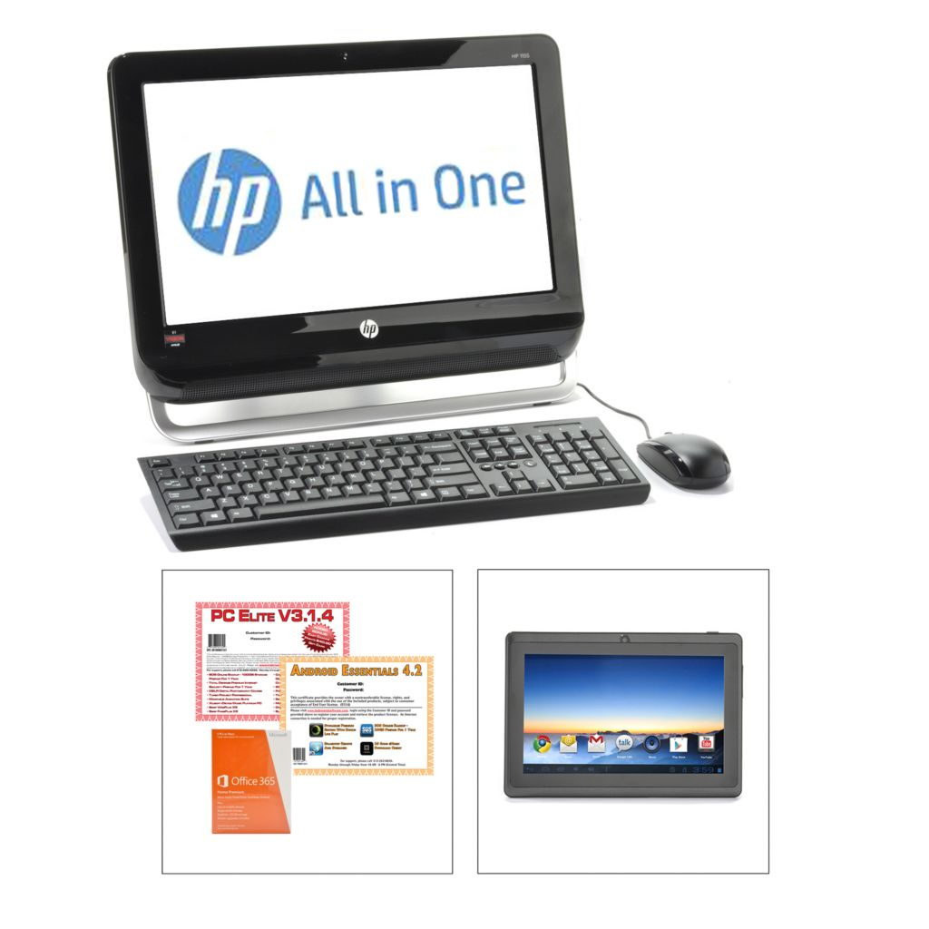 "440-895 - HP 18.5"" LCD 4GB RAM/500GB HD All-in-One Desktop & Wi-Fi Tablet w/ Software & Apps"