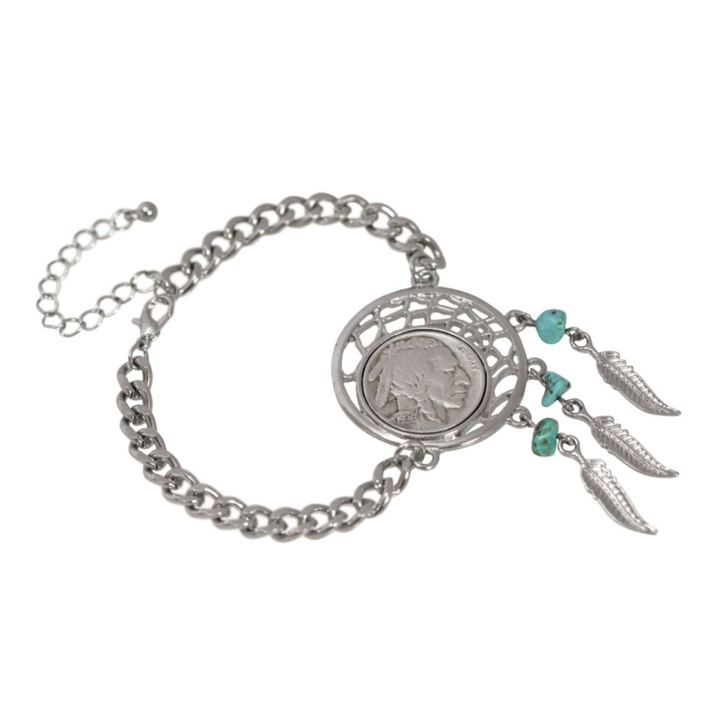 440-928 - Dream Catcher Buffalo Nickel & Turquoise Dream Catcher Link Bracelet
