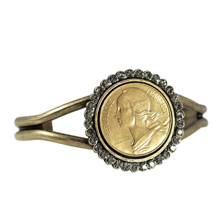 440-930 - French Coin & Opaque Crystal Marianne Cuff Bracelet