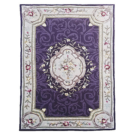 441-035 - Global Rug Gallery Aubusson-Style Floral Scrollwork Hand-Tufted Wool & Artisan Silk Rug