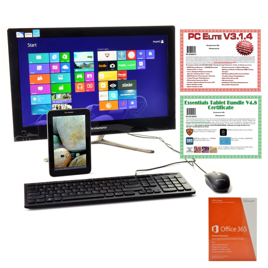 "441-041 - Lenovo 21.5"" LED 4GB RAM/1TB HDD Desktop Computer & IdeaTab 16GB Wi-Fi Tablet w/ Software & Apps"