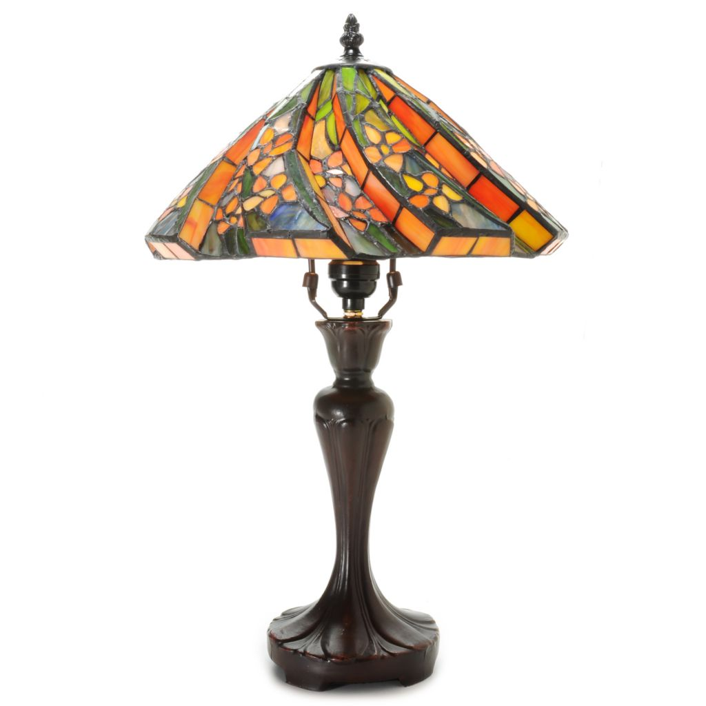 "441-071 - Tiffany-Style Choice of Color 19"" 3D Floral Stained Glass Table Lamp"