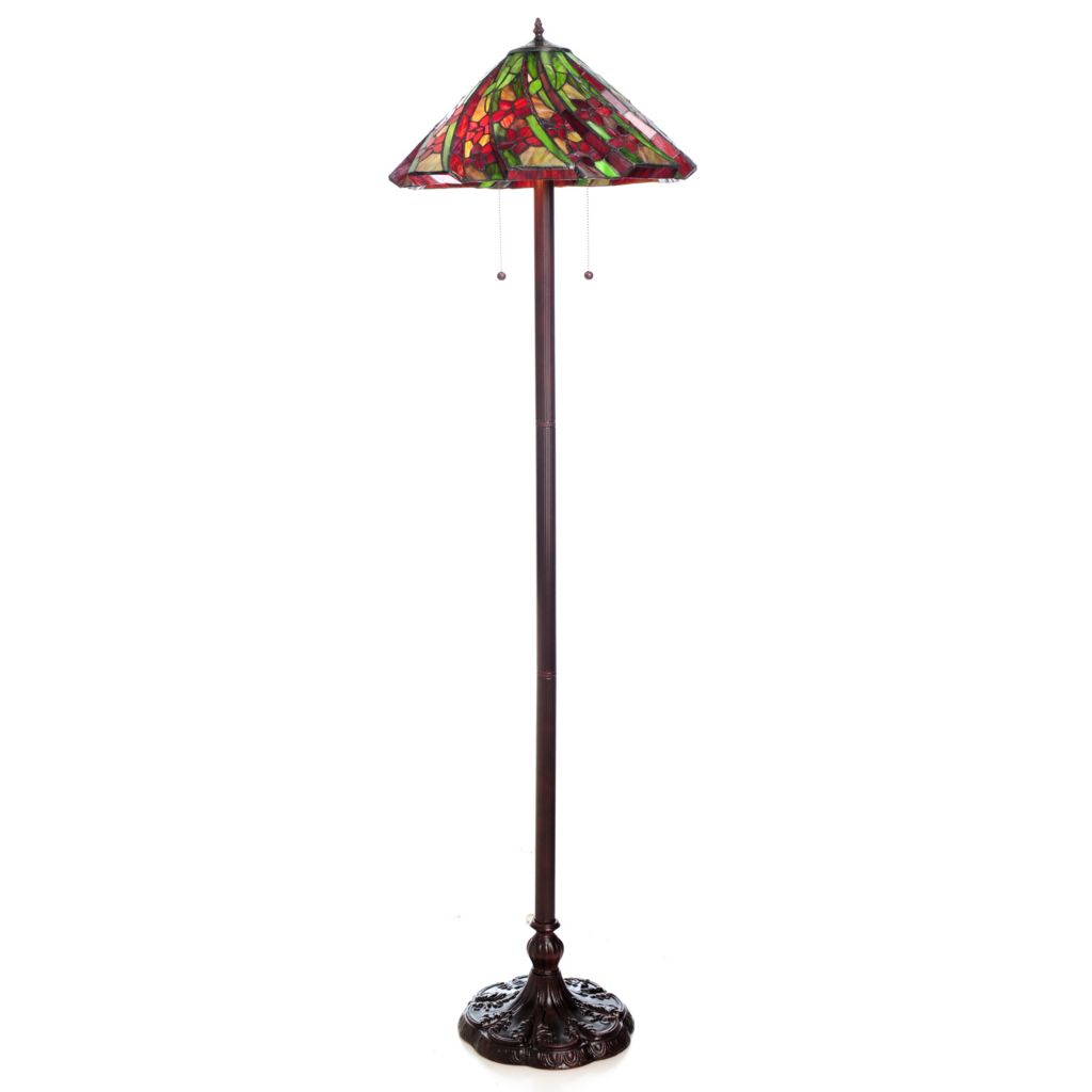 "441-072 - Tiffany-Style 62"" 3D Floral Stained Glass Floor Lamp"
