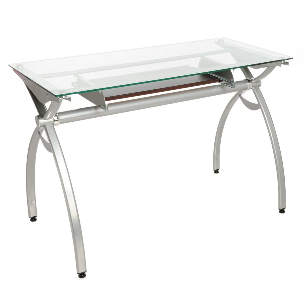 441-138 - Techni Mobili Tempered Glass Top Computer Desk w/ Pull-out Keyboard Shelf