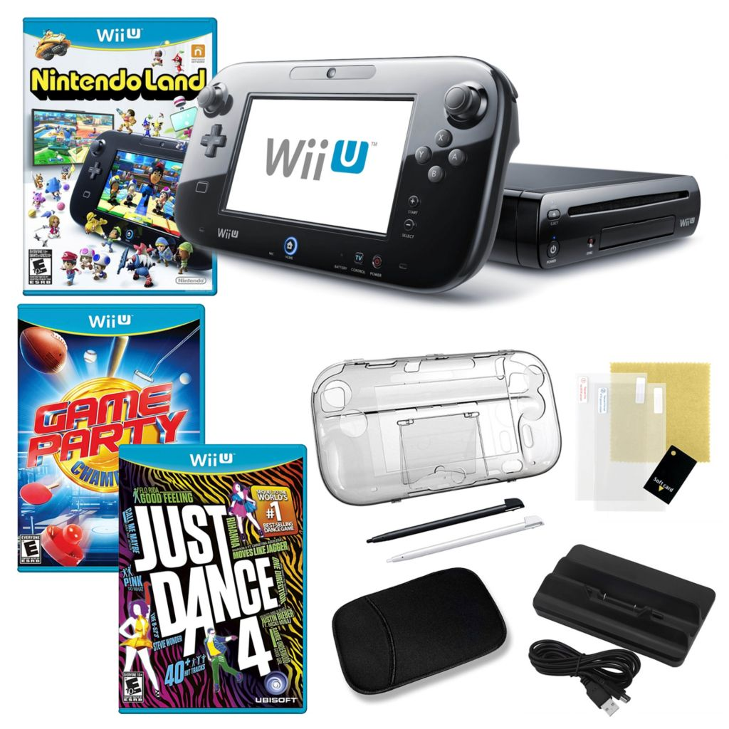 441-157 - Nintendo Wii U 32GB Deluxe Black Bundle with Three Games and Accessories