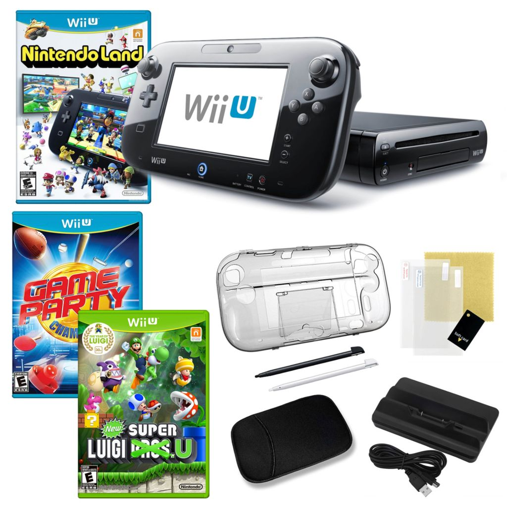 441-158 - Nintendo Wii U 32GB Deluxe Black Bundle with Three Games and Accessories
