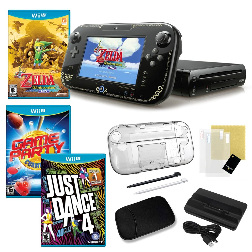 441-159 - Nintendo Wii U Legend of Zelda WindWaker HD Bundle with Three Games and Accessories