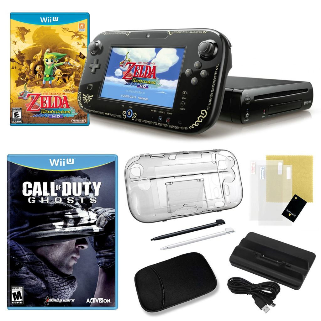 441-160 - Nintendo Wii U Legend of Zelda WindWaker HD Bundle w/ Games & Accessories