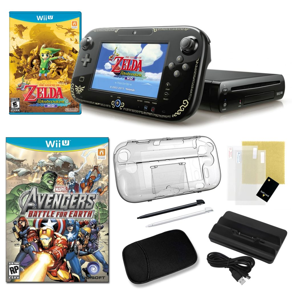 441-161 - Nintendo Wii U Legend of Zelda WindWaker HD Bundle with Games and Accessories