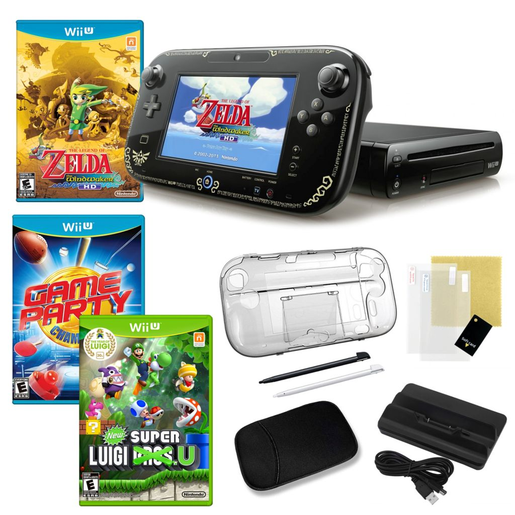 441-164 - Nintendo Wii-U 32GB Legend of Zelda WindWaker HD Gaming System Bundle w/ Games & Accessories