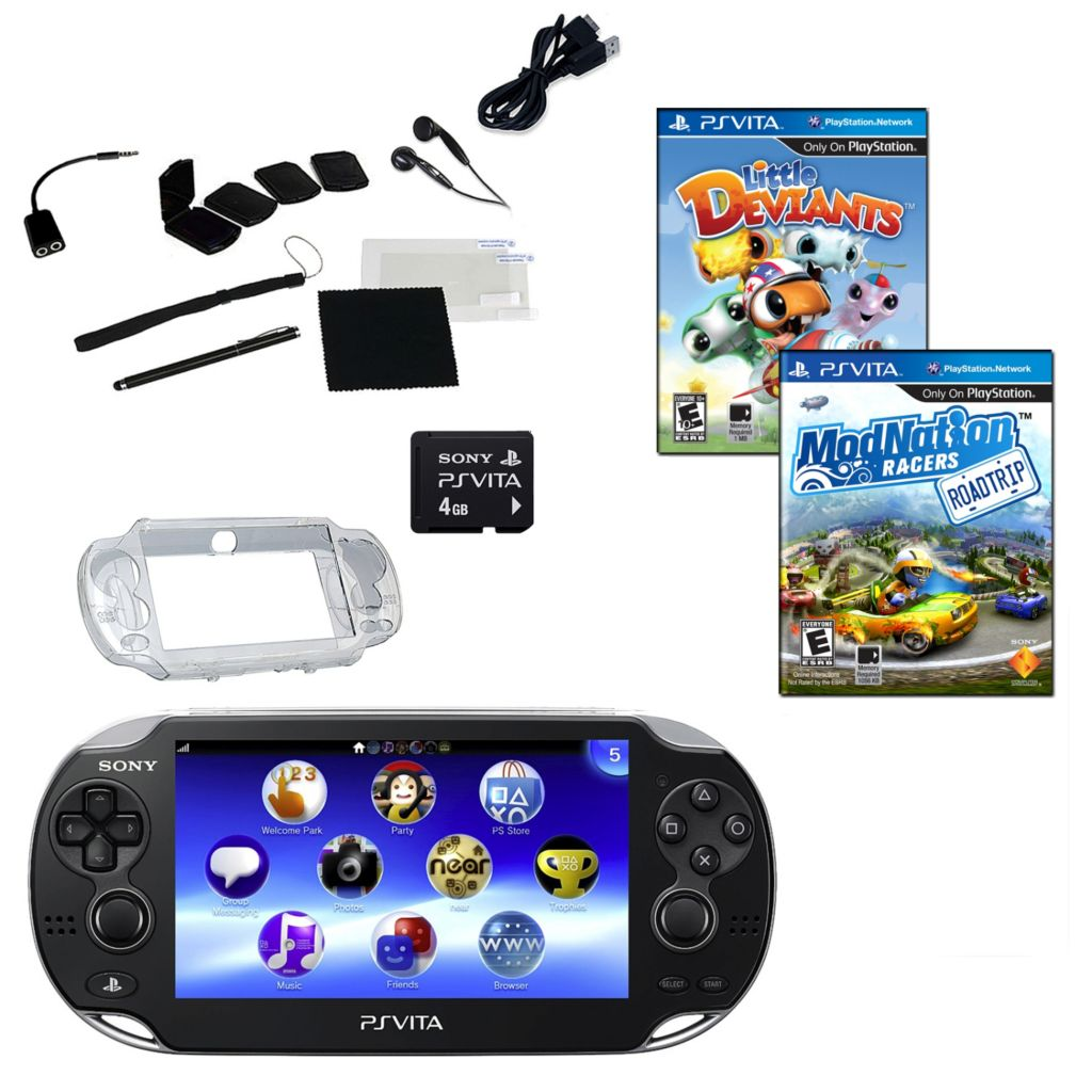 441-179 - PS Vita Wi-Fi Portable Gaming System Bundle w/ Two Games, Memory Card & Accessories
