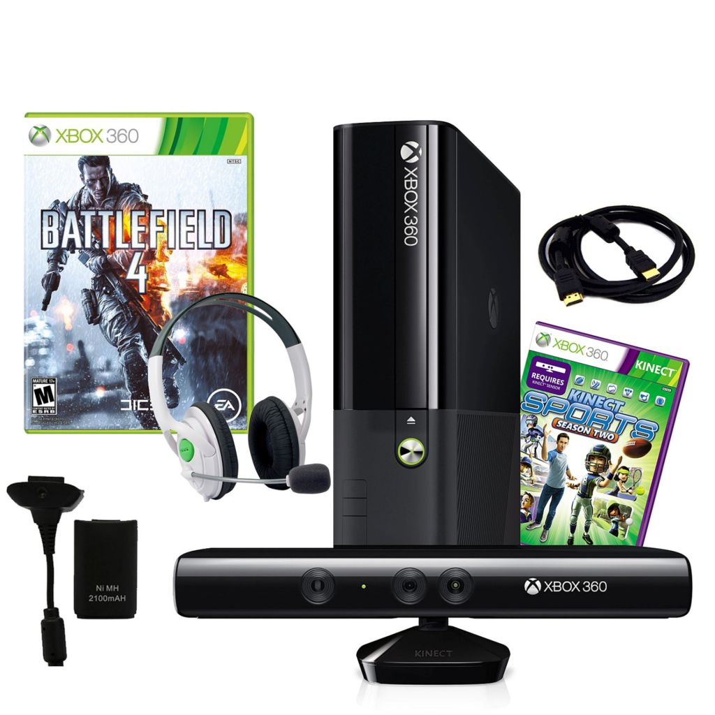 441-193 - Xbox E 4GB Kinect Gaming Console Bundle w/ Game, Plug & Play Charger & HDMI Cable