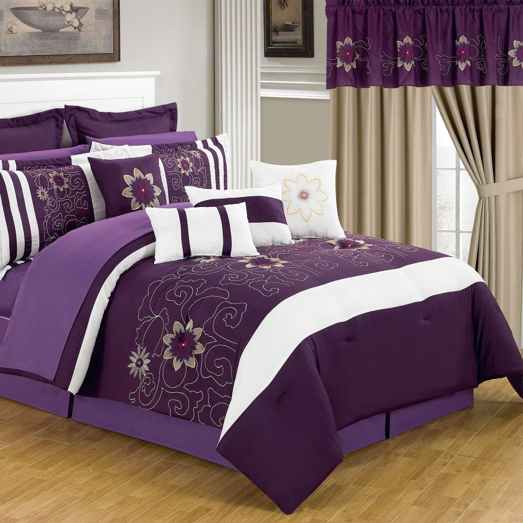 441-220 - Lavish Home Room-In-A-Bag Purple & White Bedroom Set