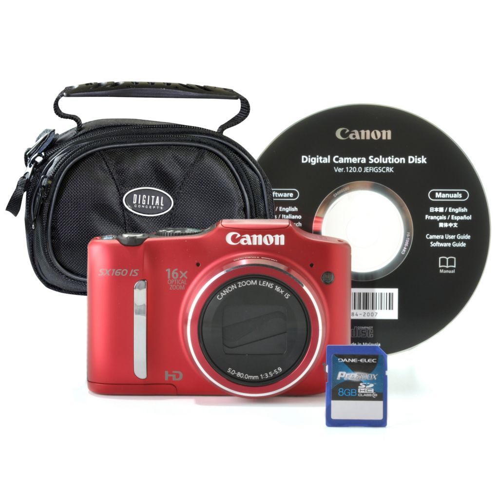 441-228 - Canon Power Shot 16MP 16X Optical Zoom Digital Camera w/ 8GB Memory Card & Case