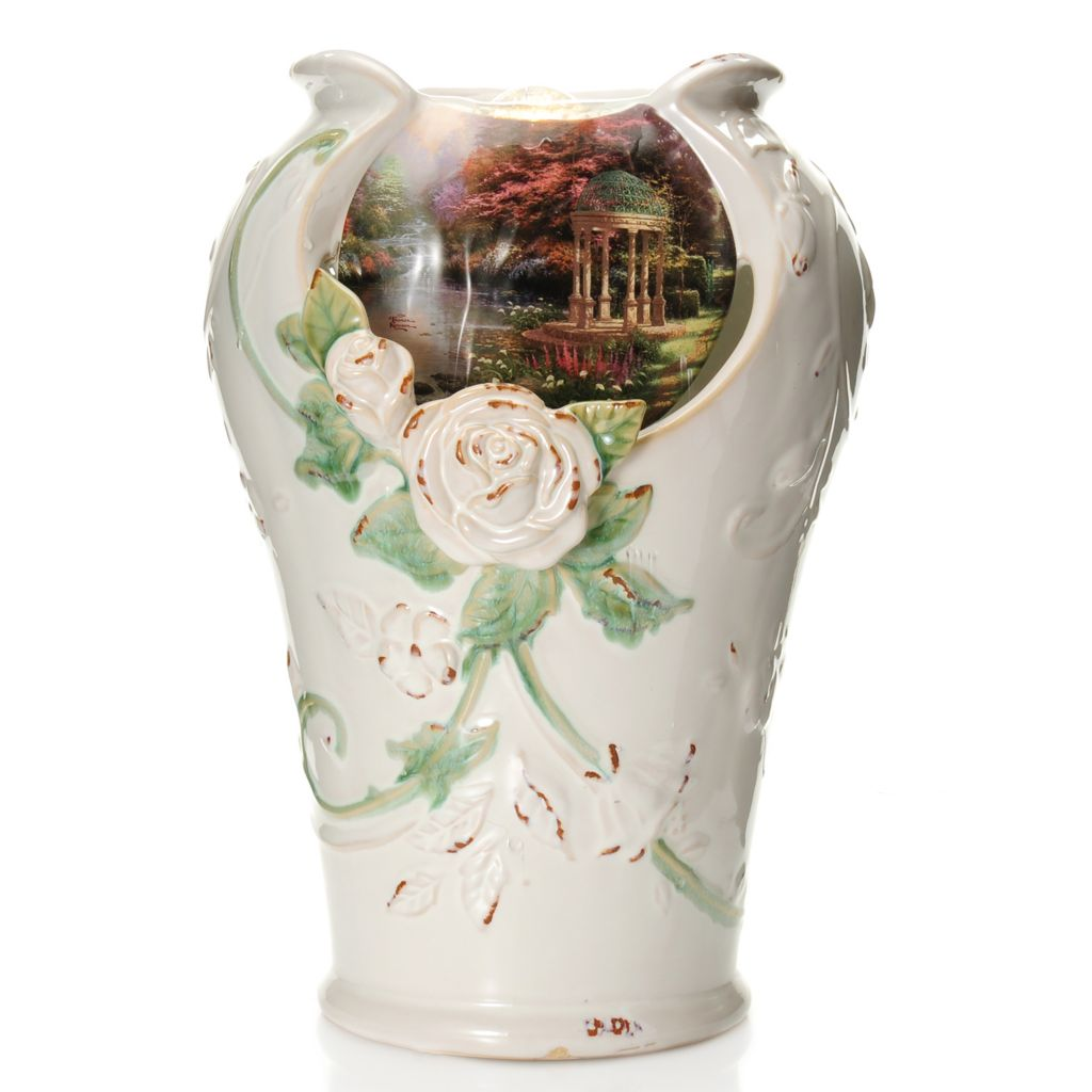 "441-241 - Thomas Kinkade 14"" ""A Garden of Prayer"" Porcelain Tabletop Fountain"