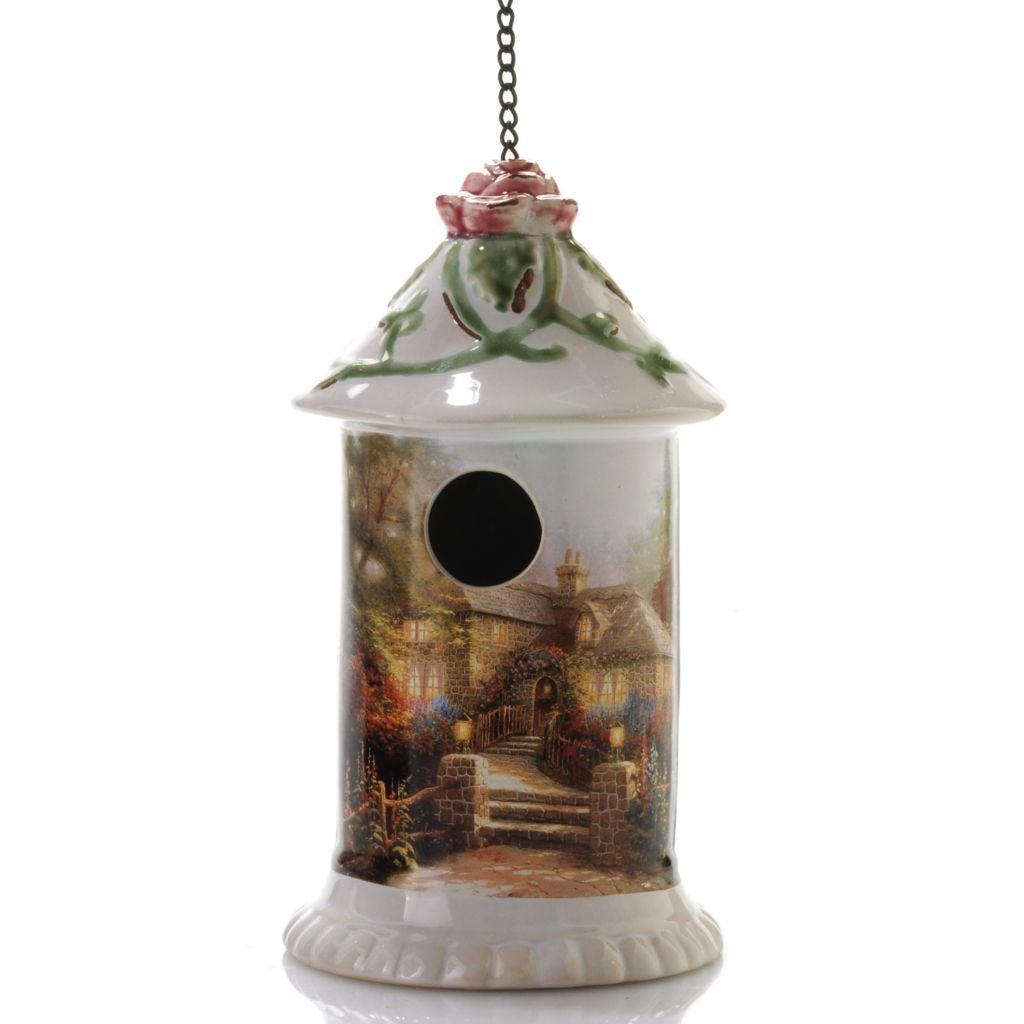"441-244 - Thomas Kinkade 9.5"" Porcelain Hanging Birdhouse"