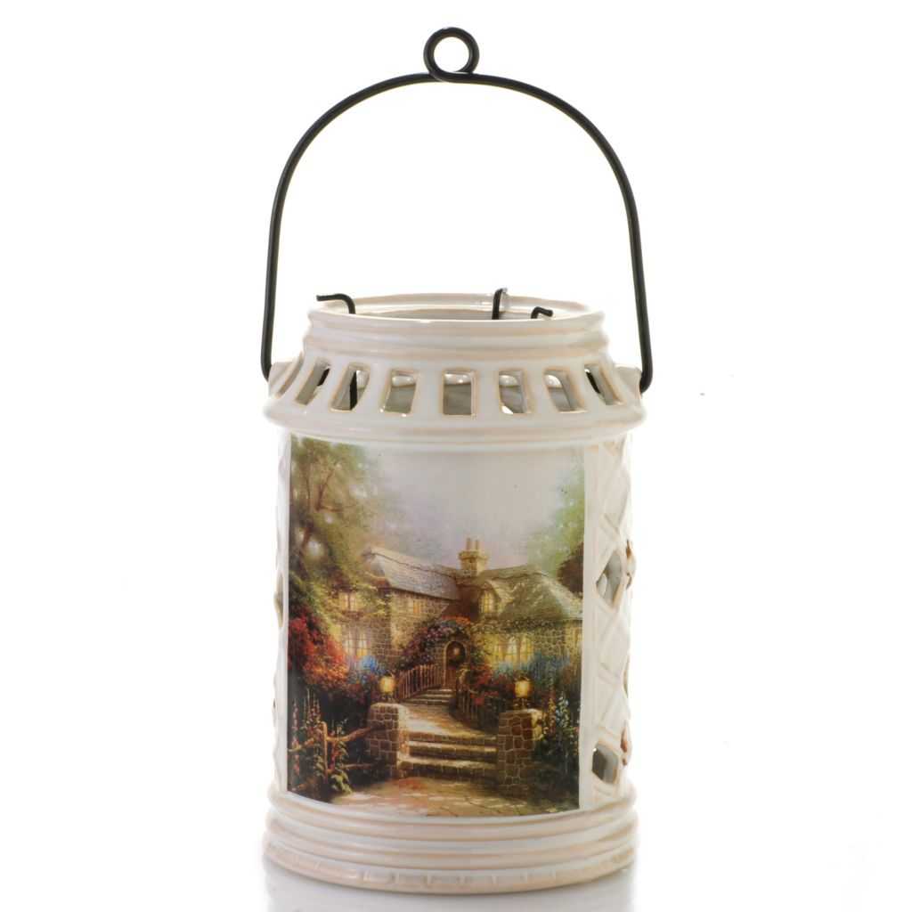 "441-246 - Thomas Kinkade 6.75"" Porcelain Lantern w/ Three-Arm Candle Holder"