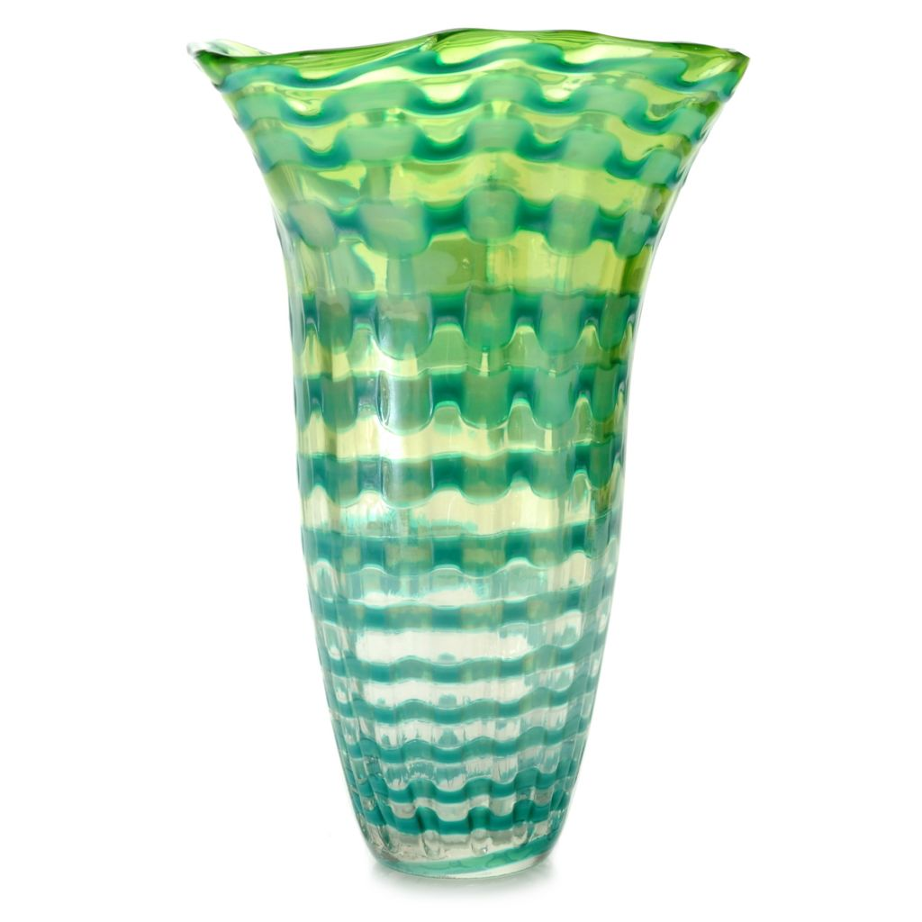 "441-264 - Favrile Titian 14"" Hand-Blown Art Glass Ruffle Vase"
