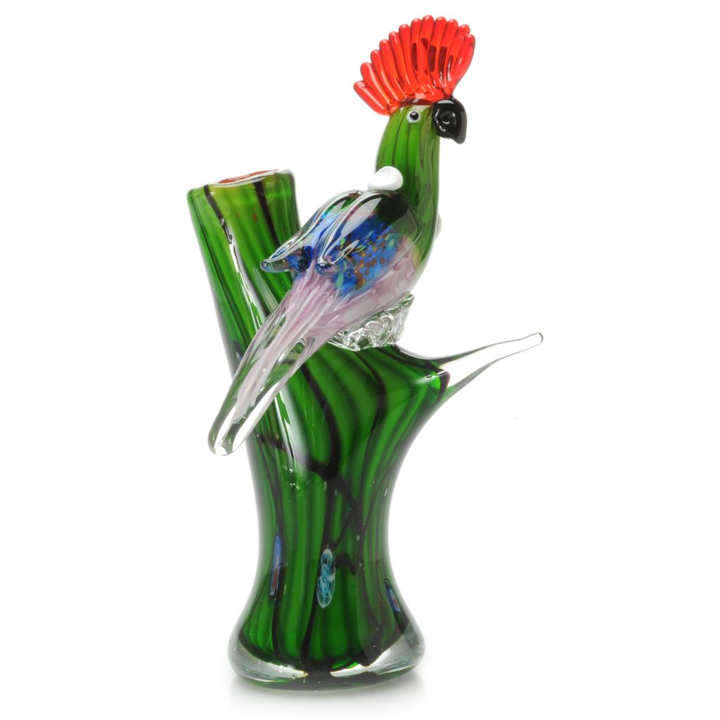 "441-265 - Favrile 12.5"" Hand-Blown Art Glass Parrot Perch Figurine"