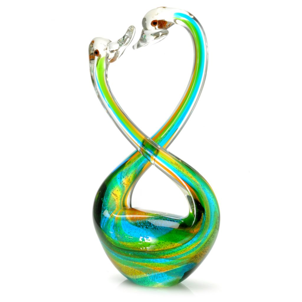 "441-266 - Favrile 12"" Hand-Blown Art Glass Swooning Swans Figurine"