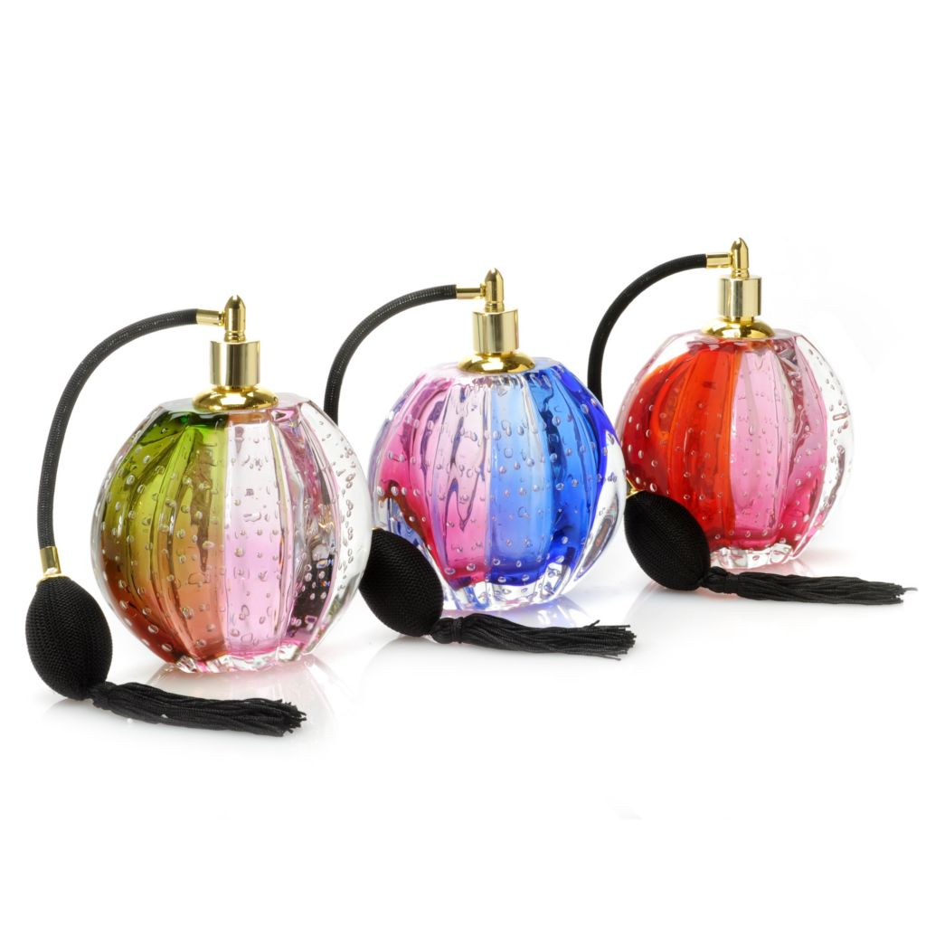 "441-267 - Favrile Three-Piece 6.5"" Hand-Blown Art Glass Oval Perfume Bottle Set"