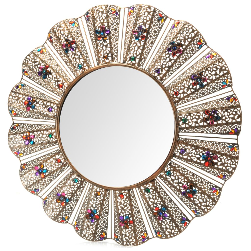 "441-279 - Style at Home with Margie 30"" Jeweled Filigree Wall Mirror"