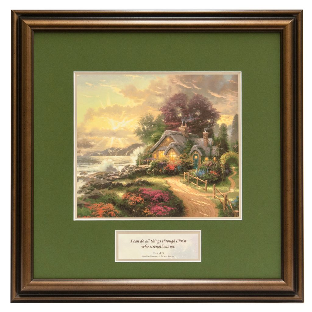 "441-294 - Thomas Kinkade Inspirational ""New Day Dawning"" Framed Print"