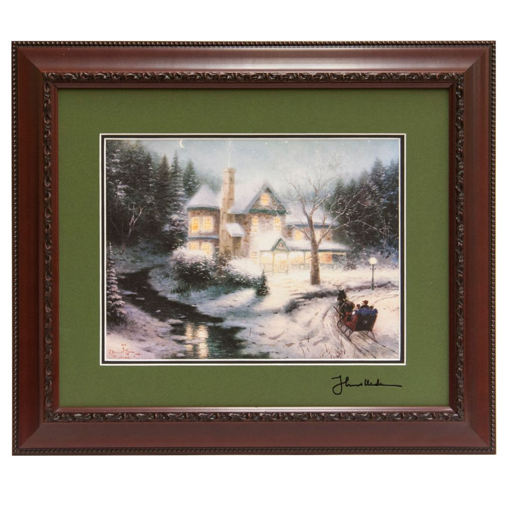 "441-301 - Thomas Kinkade ""Moonlit Sleigh Ride"" Framed Print"