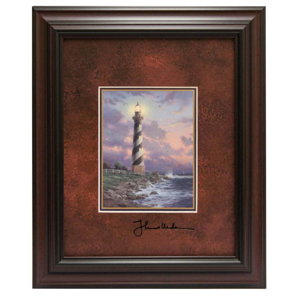 "441-302 - Thomas Kinkade ""Cape Hatteras Light"" Framed Print w/ Easel Back"