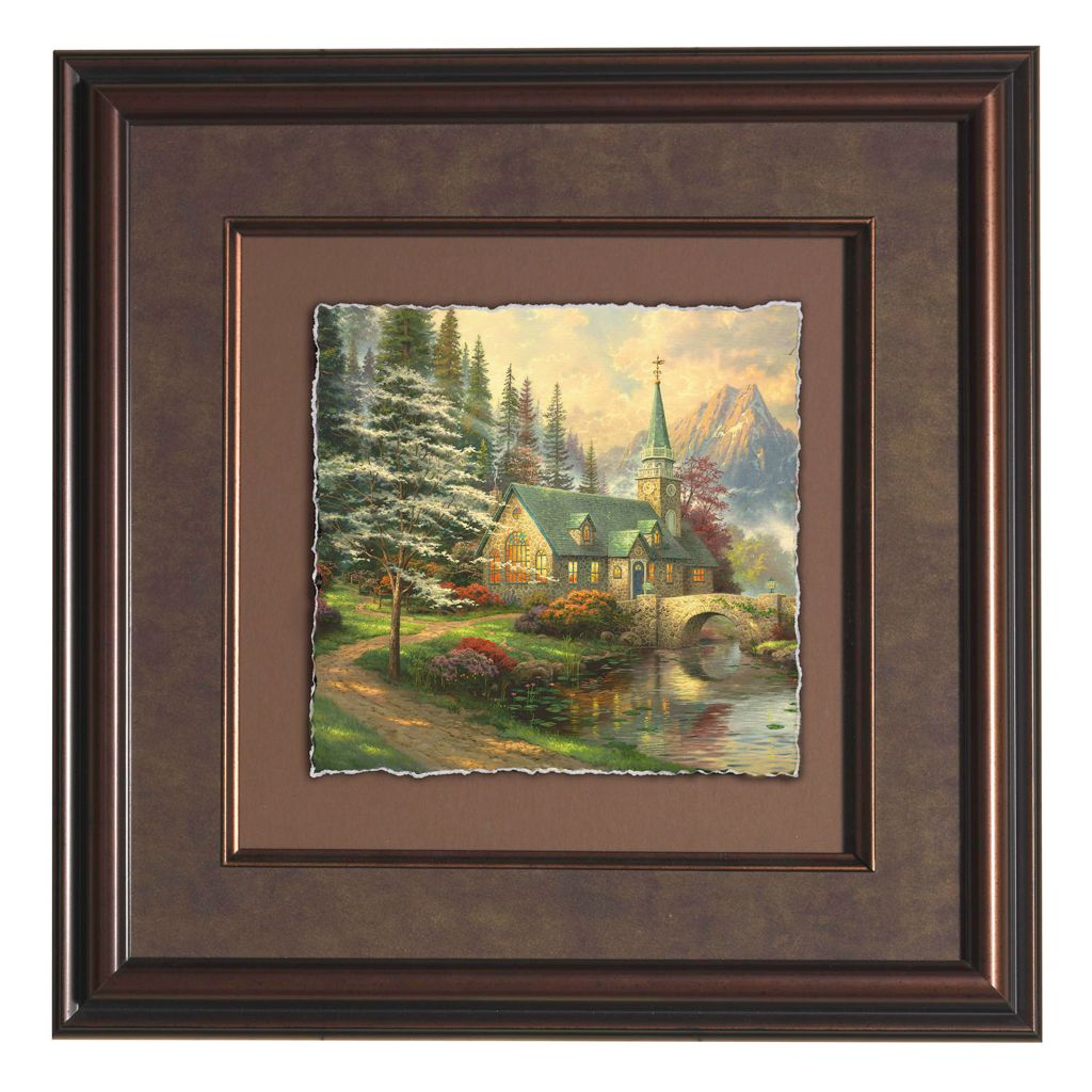 "441-303 - Thomas Kinkade ""Dogwood Chapel"" Framed Floating Print"