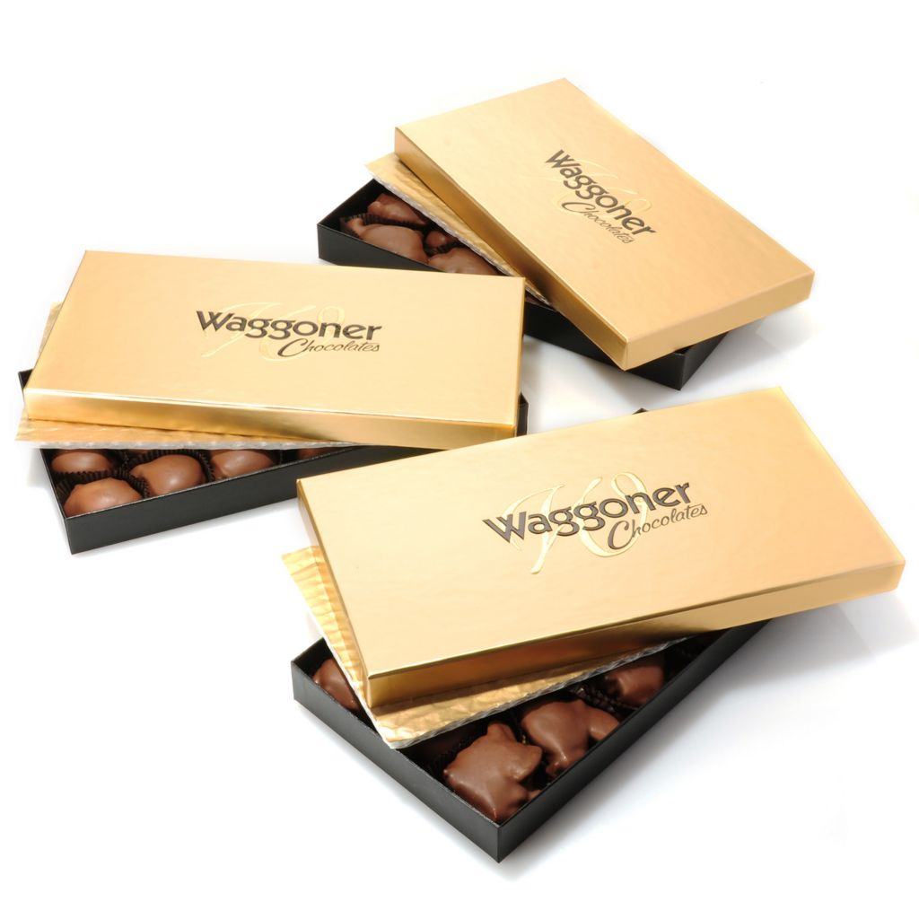 441-324 - Waggoner Chocolate Set of Three 1 lb Choice of Dark or Milk Chocolate Caramel Dainties