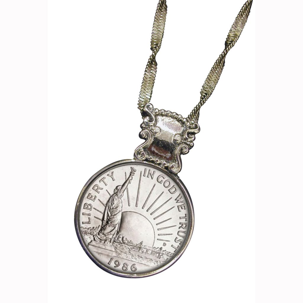 441-362 - Silver-tone Liberty Commemorative Half Dollar Coin Pendant w/ Chain
