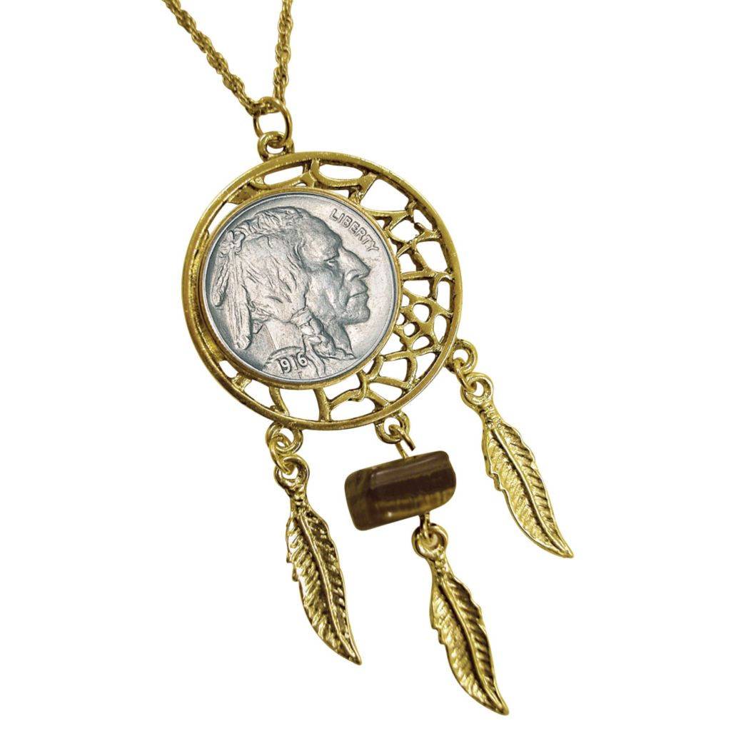 "441-368 - Dream Catcher Buffalo Nickel Pendant w/ 24"" Chain"