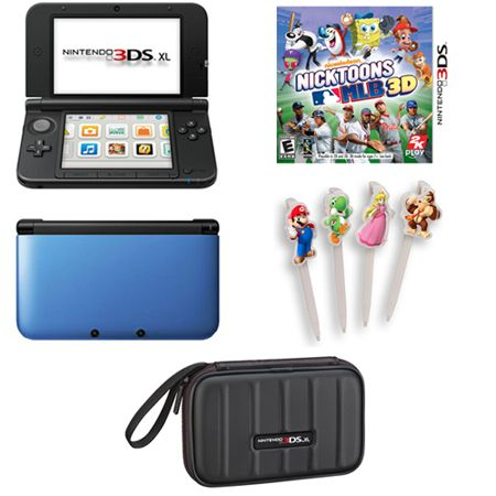 441-402 - Nintendo 3DS XL Blue/Black Portable Gaming System w/ Nicktoons MLB Game & Accessories