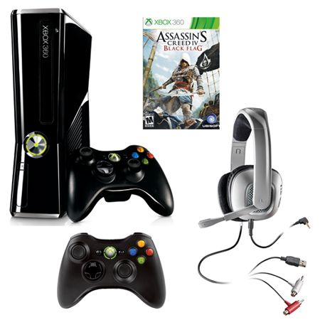 441-429 - Xbox 360 250GB Gaming System w/ Assassin's Creed IV: Black Flag Game, Controller & Headset