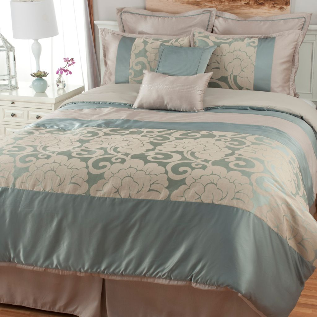 441-449 - North Shore Linens™ Floral Scrollwork Jacquard Eight-Piece Bedding Ensemble