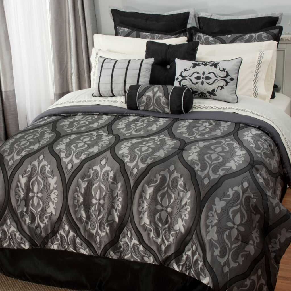 441-451 - North Shore Linens™ Microfiber Medallion Jacquard 16-Piece Bedding Ensemble