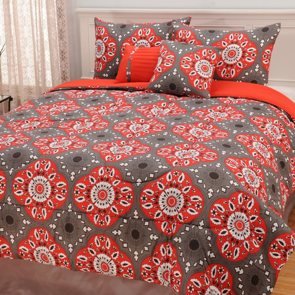 441-456 - North Shore Linens™ Microfiber Floral Medallion Five-Piece Comforter Set