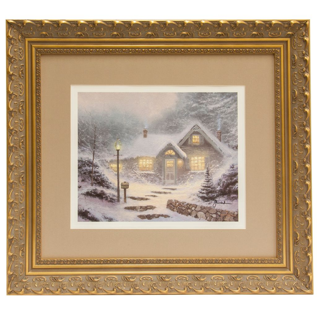 "441-502 - Thomas Kinkade ""Home for the Evening"" Framed Print - Signed by Thomas Kinkade"