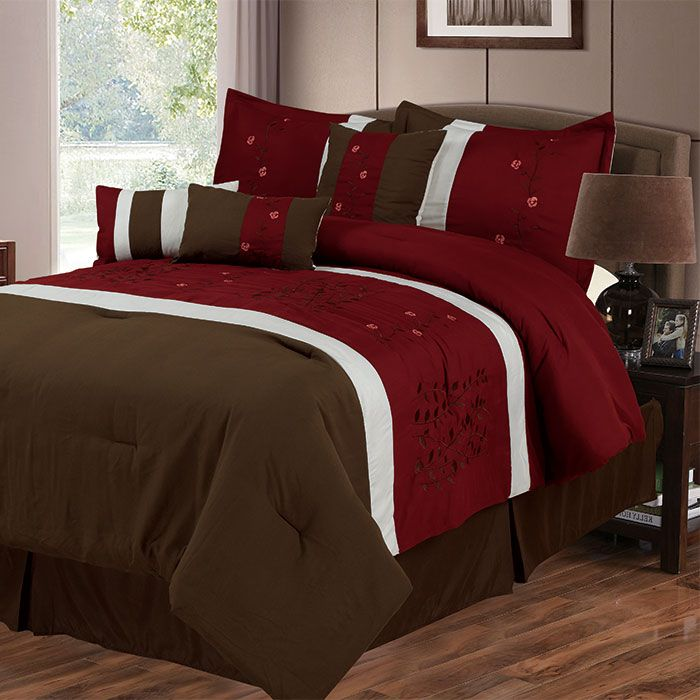 441-550 - Lavish Home Seven-Piece Red & Brown Embroidered Comforter Set