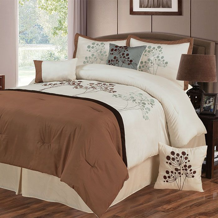 441-551 - Lavish Home Seven-Piece White & Brown Embroidered Comforter Set