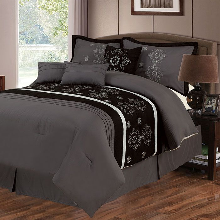 441-552 - Lavish Home Seven-Piece Grey & Black Embroidered Comforter Set