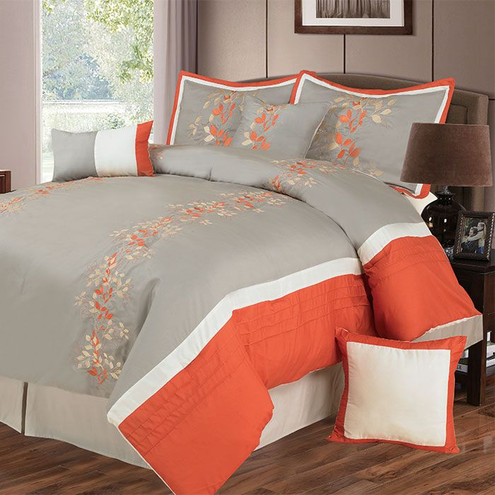 441-554 - Lavish Home Seven-Piece Orange & Grey Embroidered Comforter Set