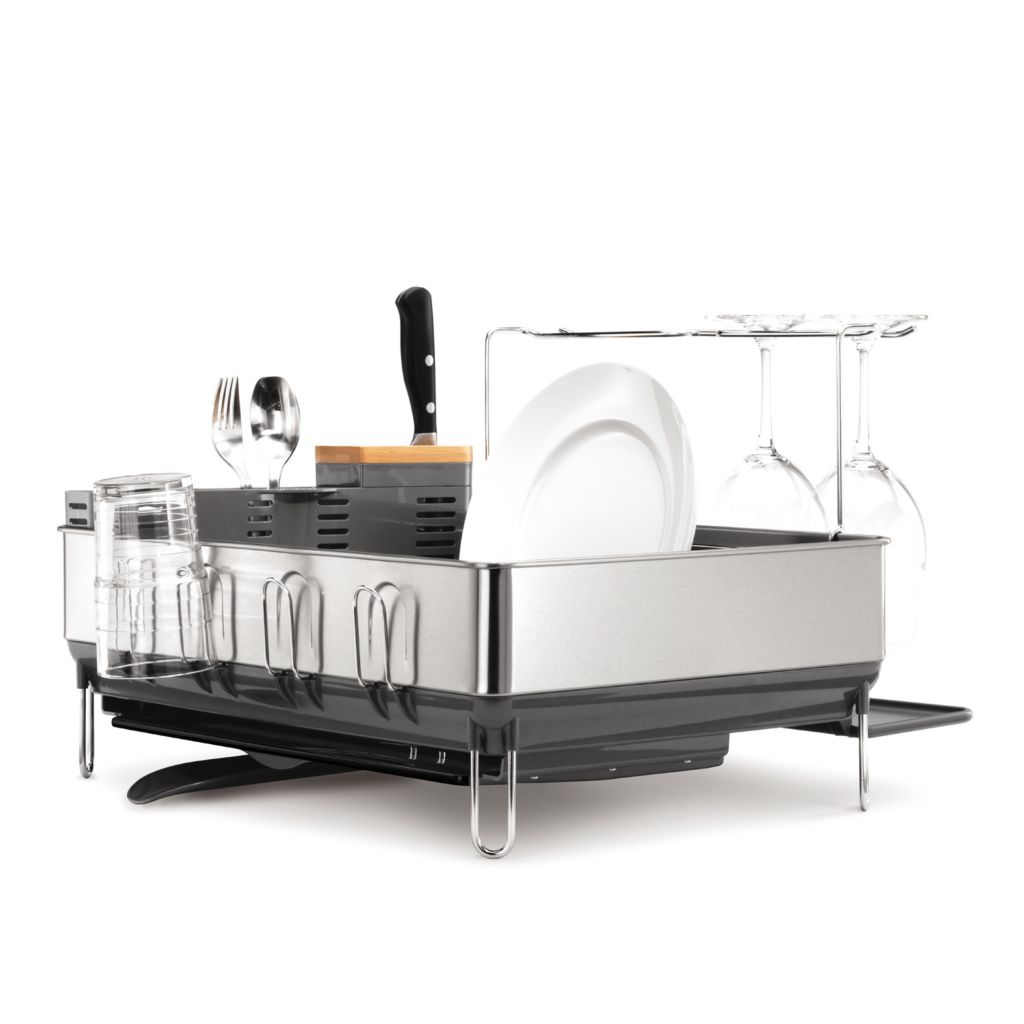 441-678 - simplehuman® Steel Frame Dishrack w/ Bonus Slim Sink Caddy